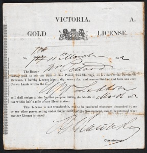 Gold License from 1852