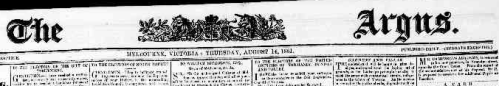 Header from the Melbourne Argus-August 14th 1851