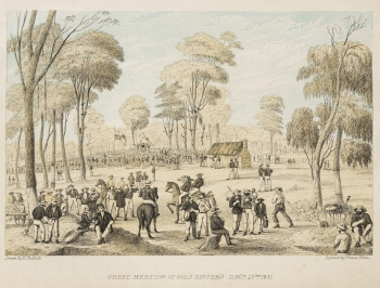Great meeting of Diggers - Dec 1851 - Tulloch, D. Stored in the Pictures Collection, State Library of Victoria