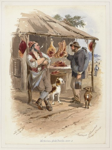 Butchers Shambles by S. T. Gill.  From the collection of the State Library of Victoria
