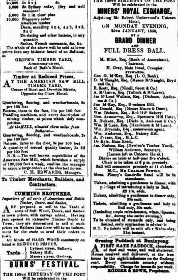 Advertisement for celebration of Robert Burns 100th birthday in Ballarat, 1858