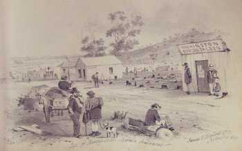 Site of Bentlys Hotel, by ST Gill. Gold Museum Collection.