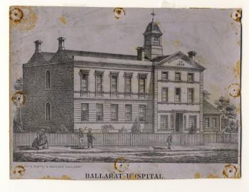 Ballarat Hospital circa 1856. Gold Museum Collection.