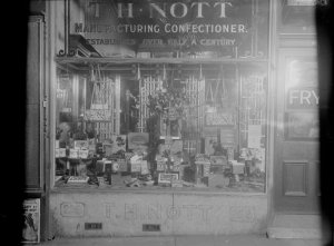 Front window of a sweet shop. State Library of Victoria collection.