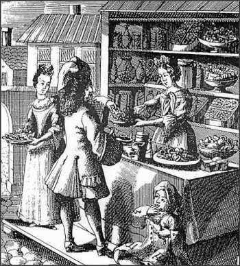 "Etching of confectionery booth, including ""a little boy with his conical bag of sugar plums"" by Christoph Weigel, c. 1700"