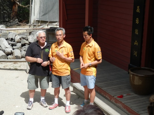 Charles Oscar and Bill back outside Sovereign Hill's Chinese temple