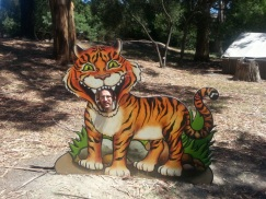 Staff member Ben with his head in the tiger's mouth.