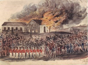 Burning of the Eureka Hotel, by Charles Doudiet 1854. Gold Museum Collection.