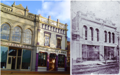 Steinfeld's building at Sovereign Hill and photo of the original. Gold Museum Collection