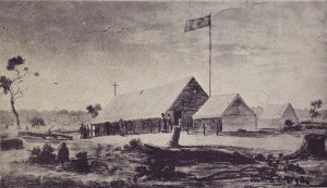 St Alipius tent school, by Eugene Von Guerard. Ballarat Historical Society Collection. Ballarat Gold Museum.